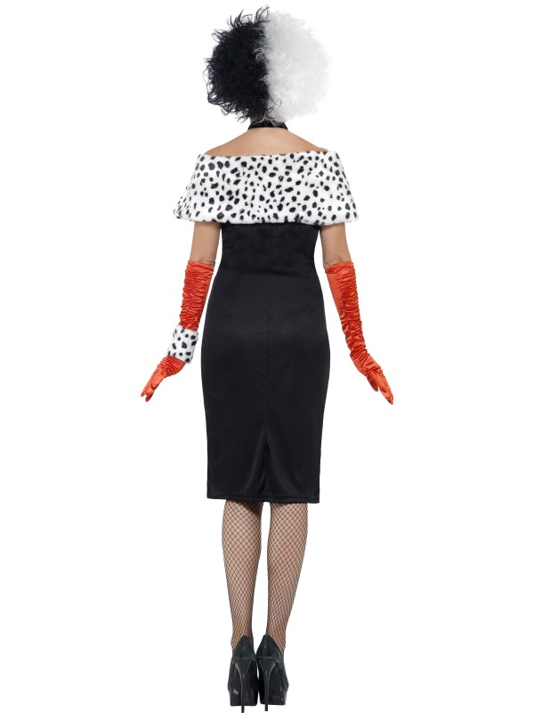 Evil Madame Cruella De Ville Costume Glitz Fancy Dress