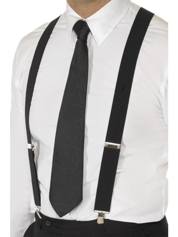 Adult Black Elasticated Braces