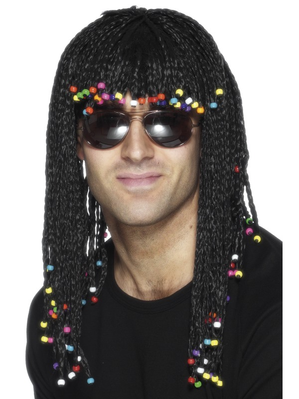 Adult Black Braided Wig with Beads