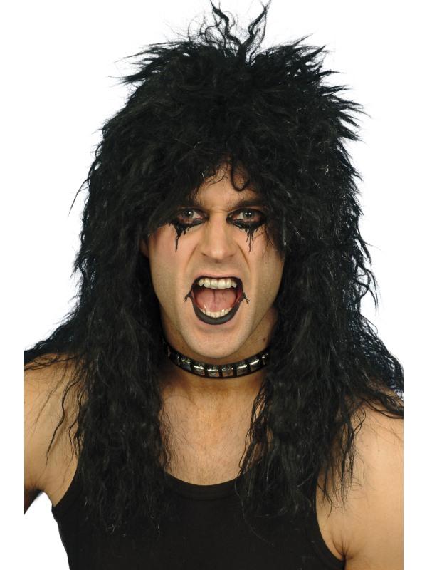 Long Black Tousled Rocker Wig