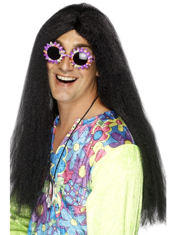 Long Black Hippy Style Wig