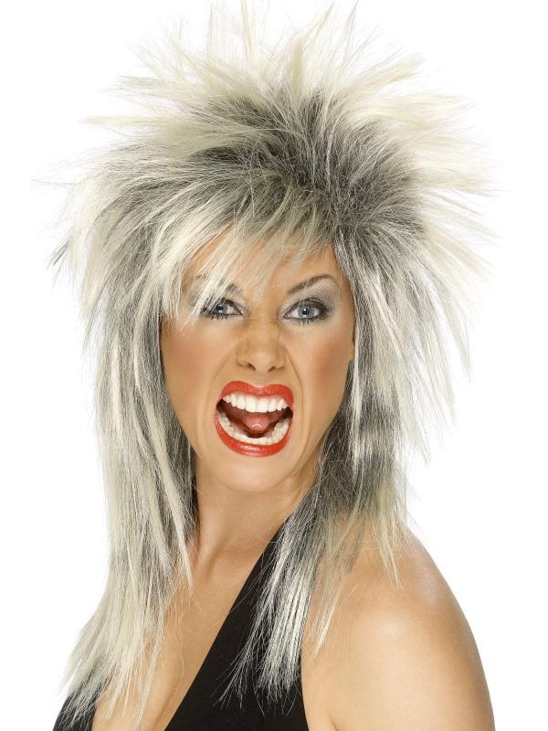 Blonde-Black Tina Turner Style Wig