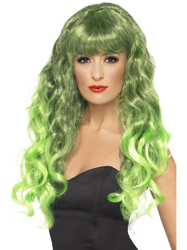 Ladies Long Curly Green Wig with Fringe