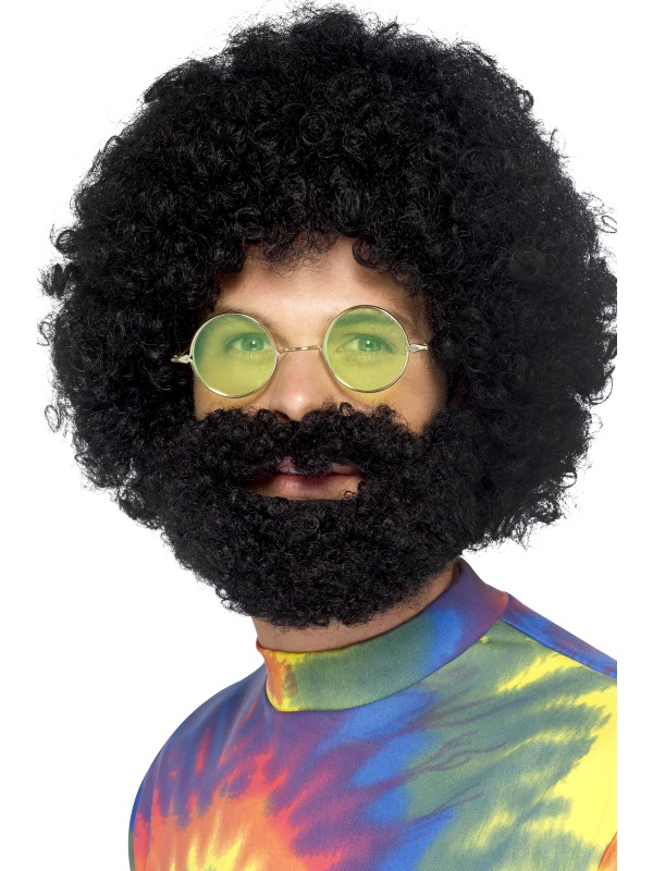Afro Style Black Curly Wig and Beard