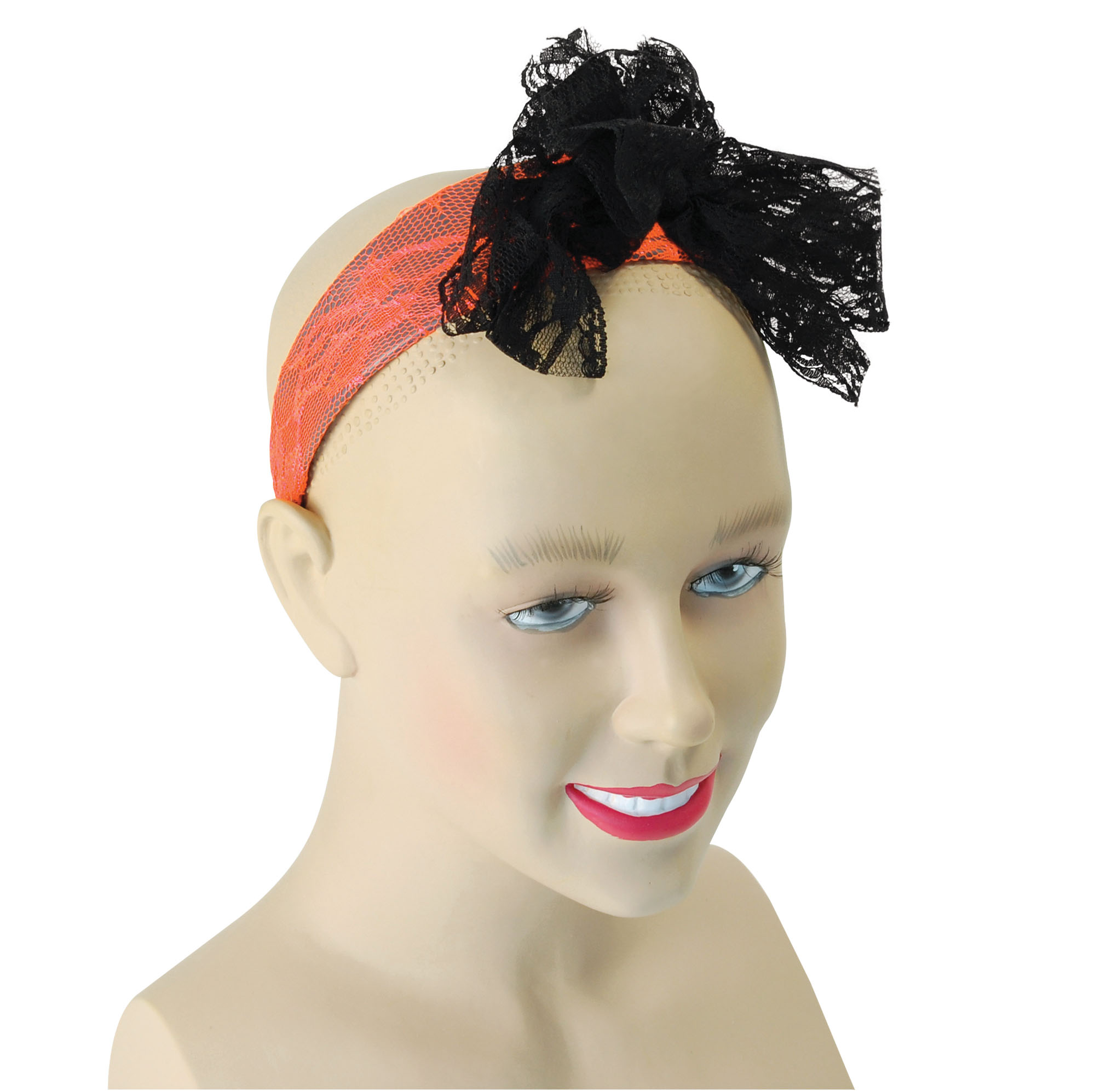 Neon Orange Lace Headband with Black Bow