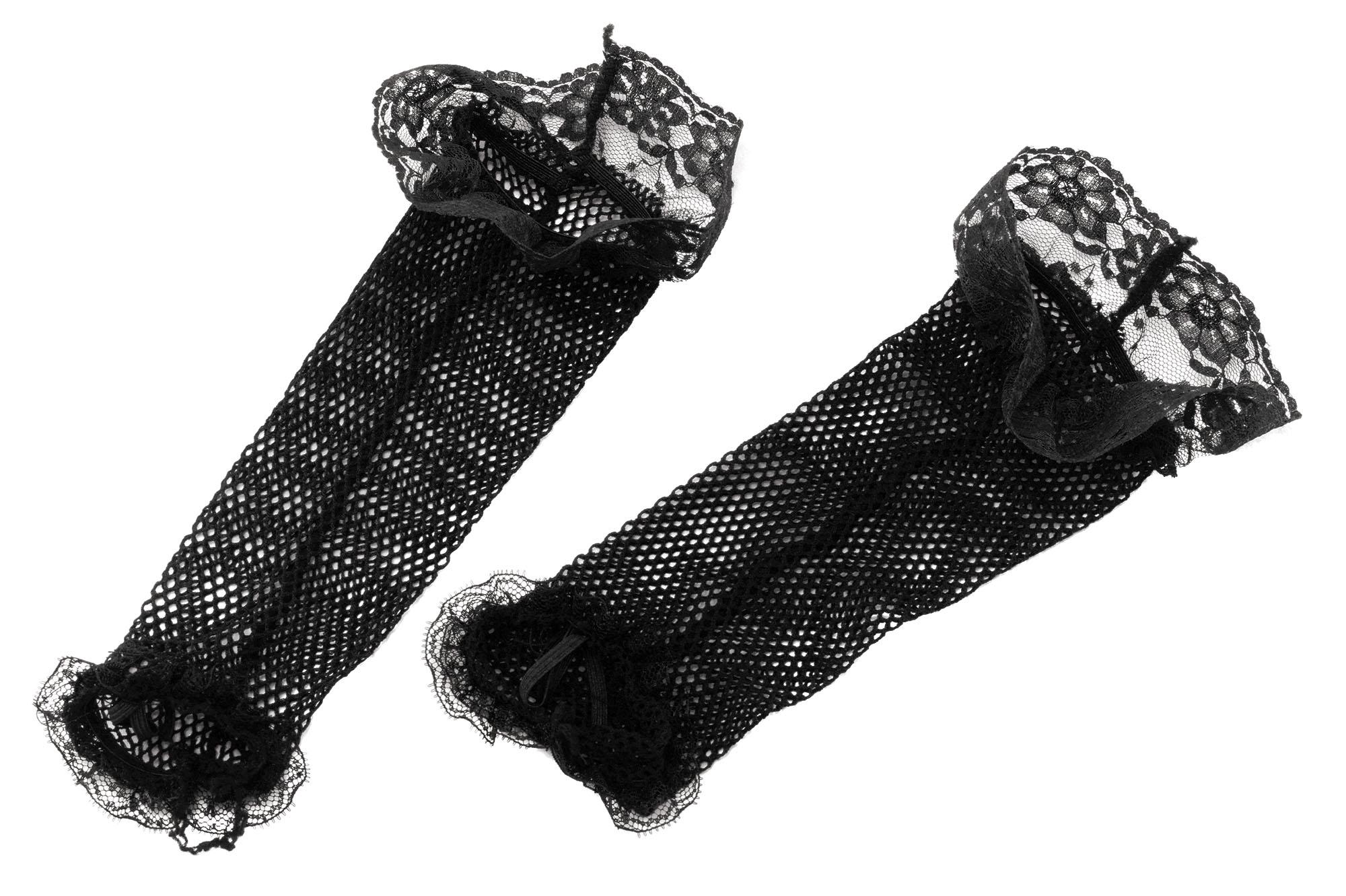 Black Lace Fishnet Gloves