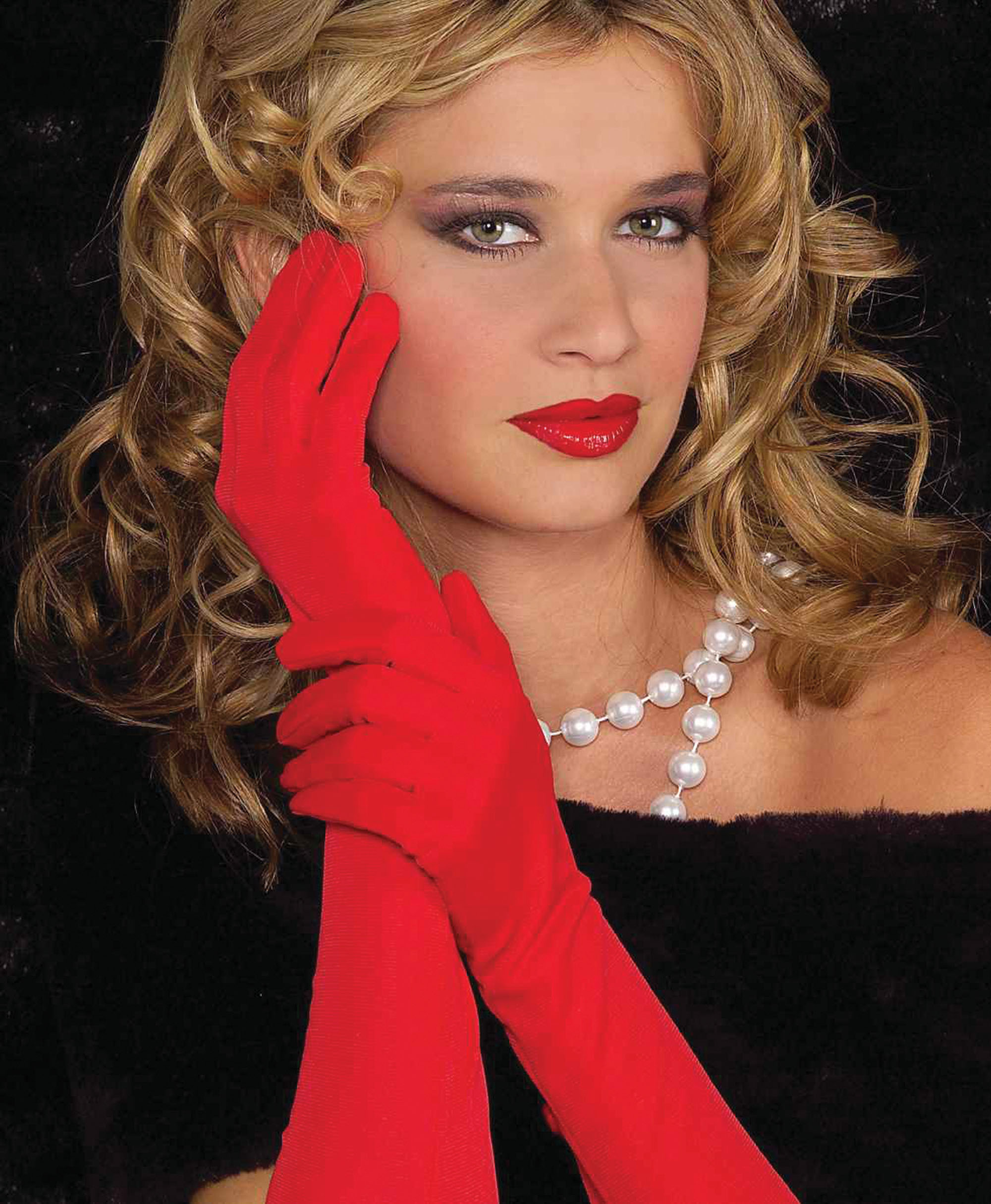 Ladies Red Satin Theatrical Gloves
