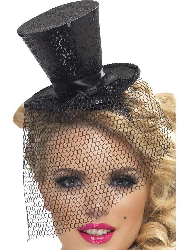 Ladies Black Mini Top Hat