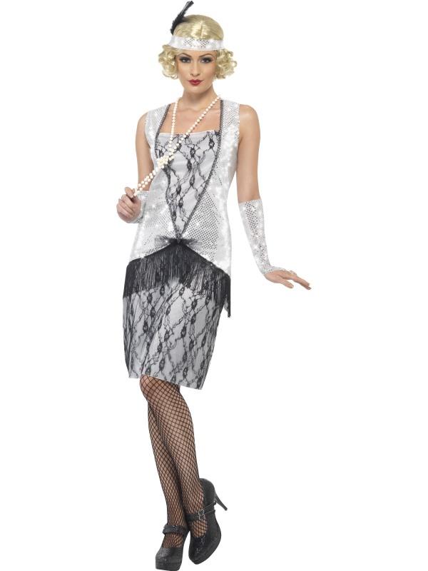 1920s Silver Flapper Dress