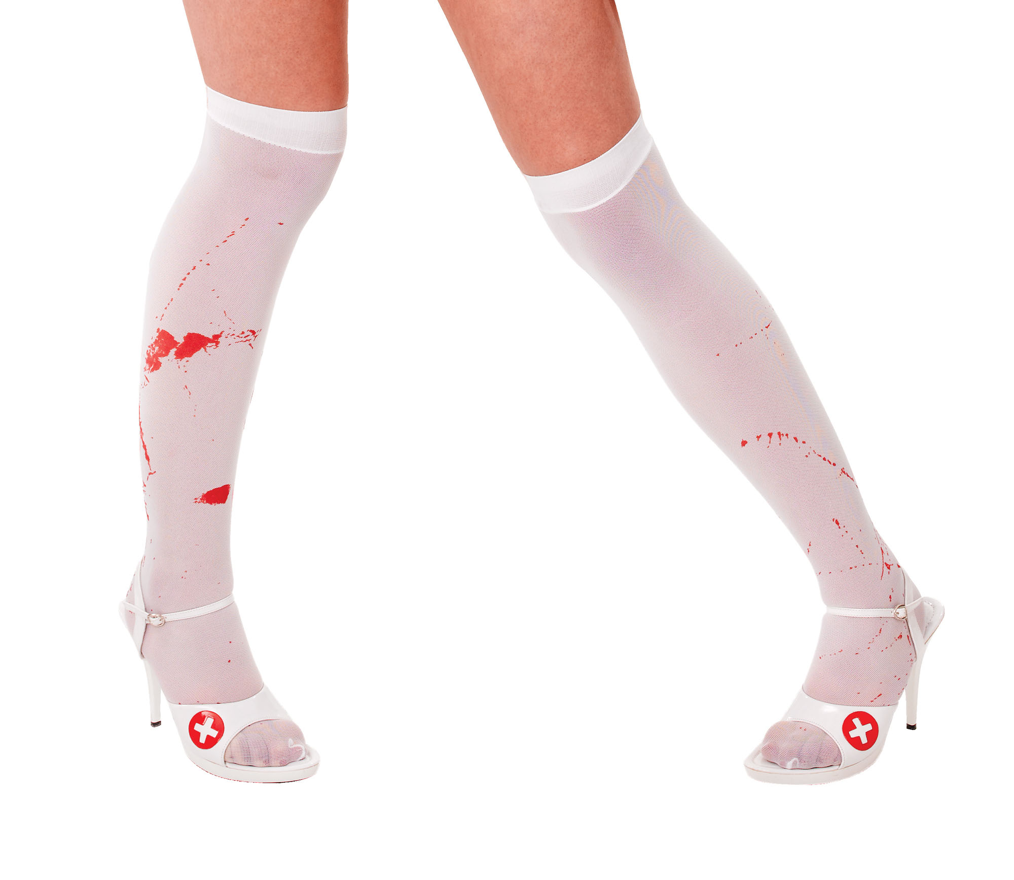 Adult White Stockings with Blood Stains