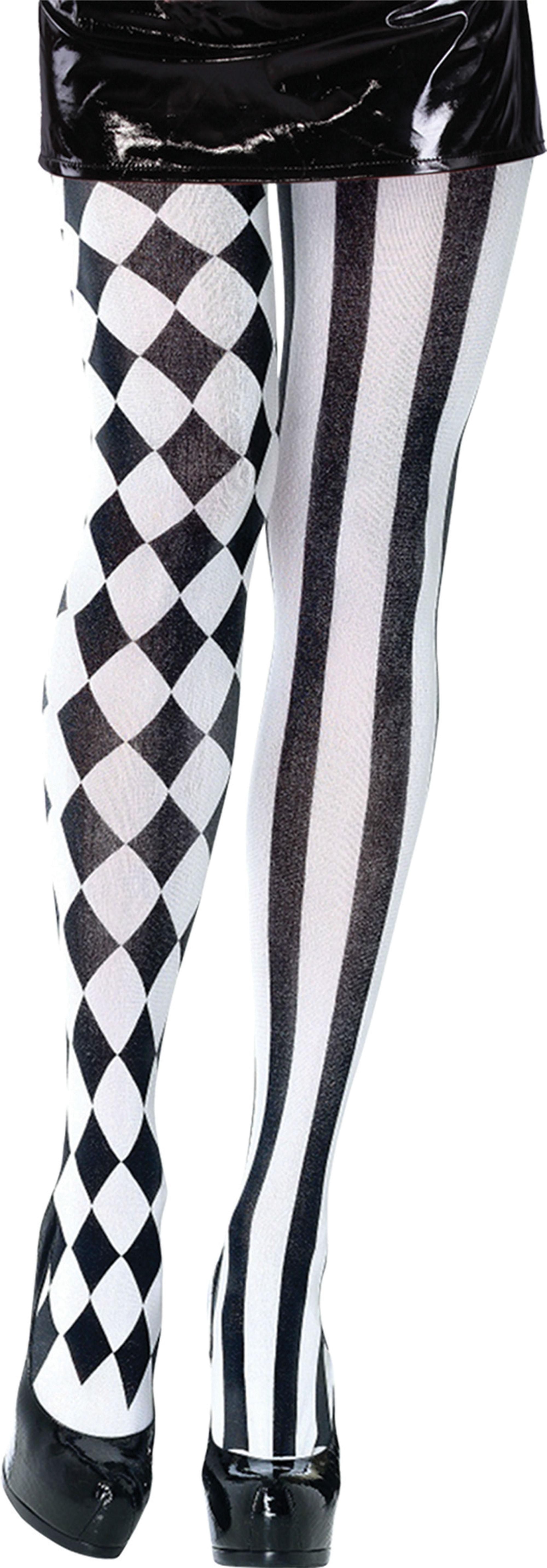 Female Black and White Harlequin Tights