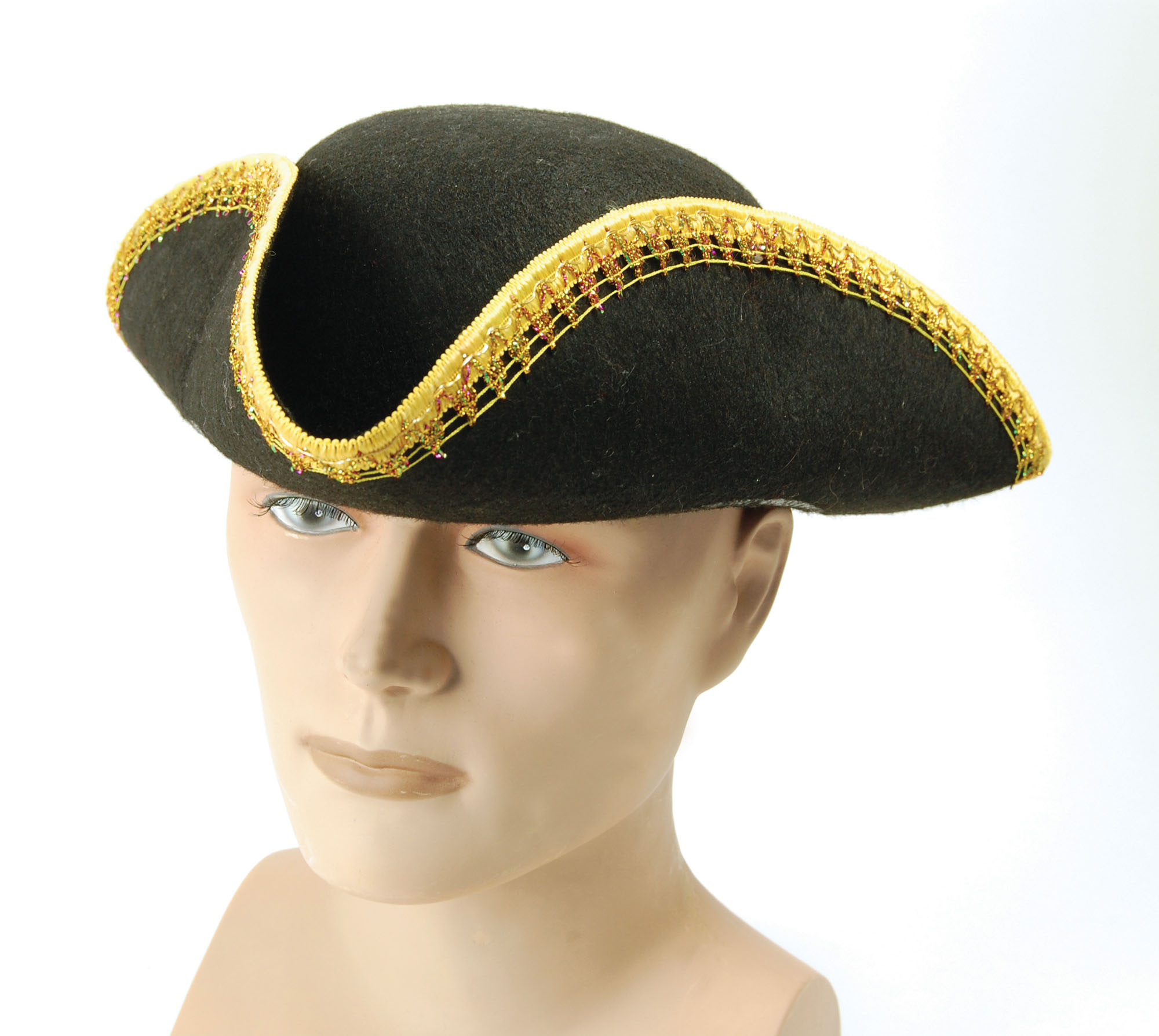 Adult Tricorn Felt Hat with Gold Trimmed Edge