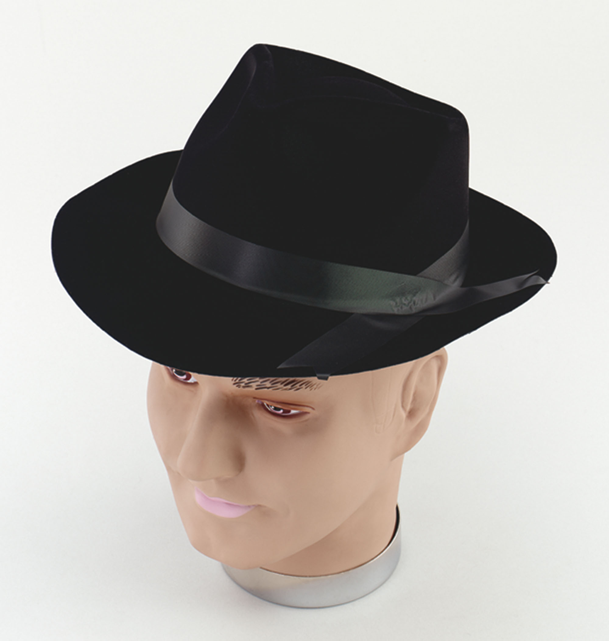 Adult 1920's Black Flock Gangster Hat