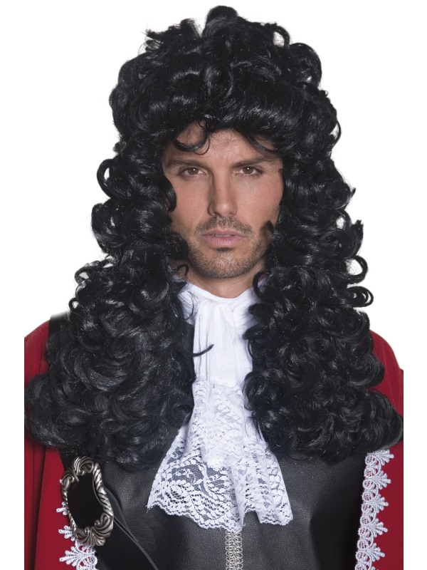 Adult Male Curly Black Pirate Captain Style Wig