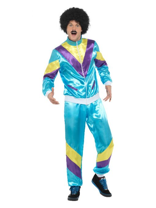 80s Male Height of Fashion Shell Suit Costume, Blue,