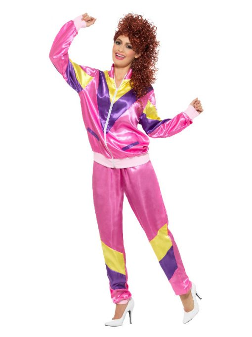 Ladies 1980s Pink Shell Suit