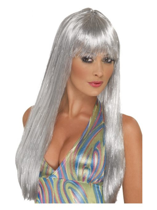 Long Straight Silver Glitter Disco Wig with Fringe