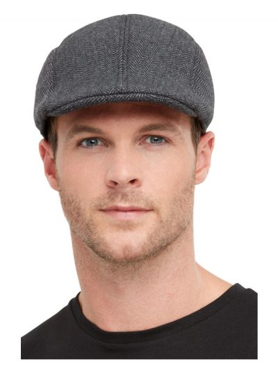 1920s Grey Gangster Flat Cap