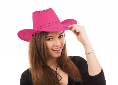 Ladies Pink Cowboy Hat with Black Stitched Design.