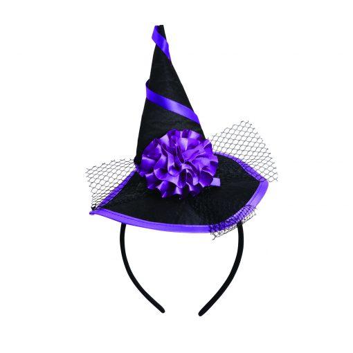 Black an Purple Witch Hat on a Headband