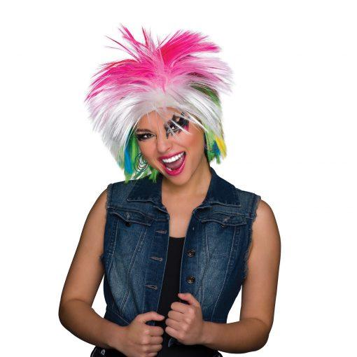 80s. Pop icon Multi Coloured Wig