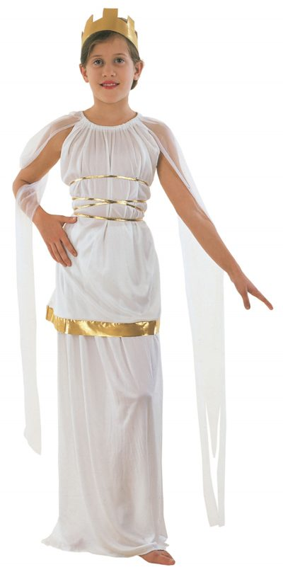 Child's Grecian Top with Shoulder Drapes, Skirt and Headpiece