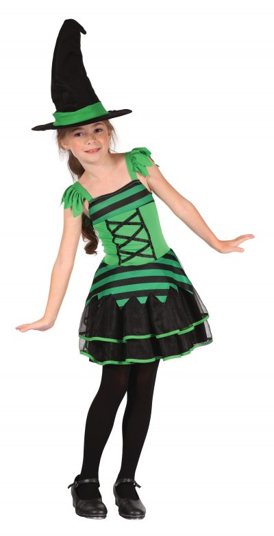 Childs Green and Black Witch Costume