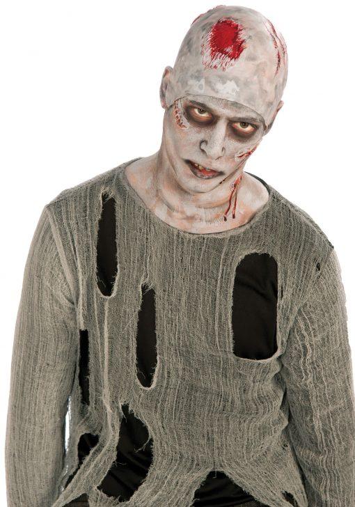 Adult Zombie Grey Bleeding Bald Cap