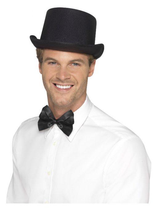 Black satin look top hat