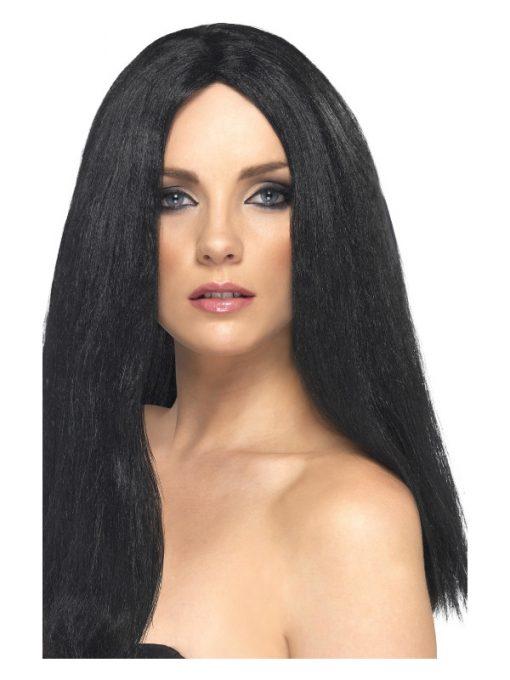 star style long straight black wig